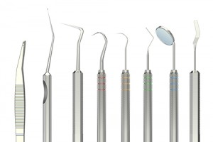 dental tools, 3D rendering isolated on white background